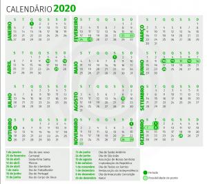 calendário de feriados 2020